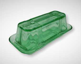 Green Glass 2 Piece Butter Dish with Lid - Depression Style, Vintage, Art Deco, Farmhouse, Kitchen, Cooking, Serving, Dinnerware, Candy Dish