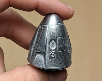 Pewter Metal SpaceX Dragon Capsule, Space Capsule, Rocket, Metal Casting