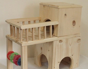 Wooden mansion/pent house with balcony for chinchilla,guinea pigs hamsters,gerbil,sugar gliders,rats,mice