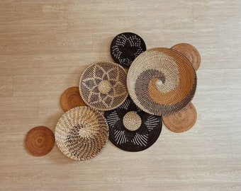 Set of 9 Basket Wall Decor, Boho Wall Decor, Boho Wall Art, Wicker Round Bowl, Wicker Wall Tray, Bohemian Wall Decor, Hanger Wall Plate