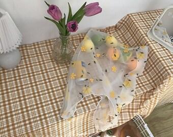 Daisy Embroidery Mesh Bag- Women's Tote Bag- Picnic Tote Bag- Korean Style Aesthetic- Fruit Bag- Grocery Bag