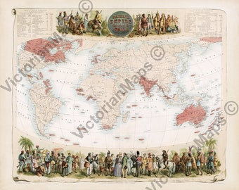 Original 1906 Map of The British Empire by Meyers Antique Colonial Era