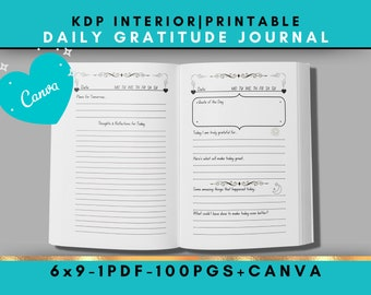 Daily Gratitude Journal - Canva Template - KDP Interior - 6x9 Printable Ready to Upload