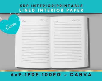 KDP Interior Journal Paper  Lined 6x9 including Canva Template