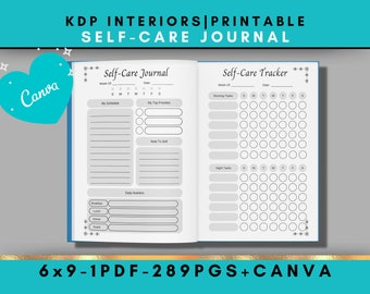 KDP Interiors, Self Care Journal, Canva Template, 6x9, 289 Pages
