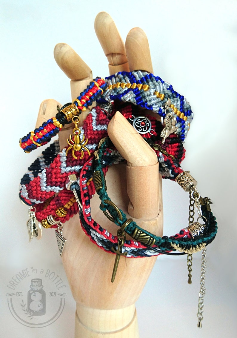 Handmade Marvel Inspired Macrame Friendship Bracelets with image 1