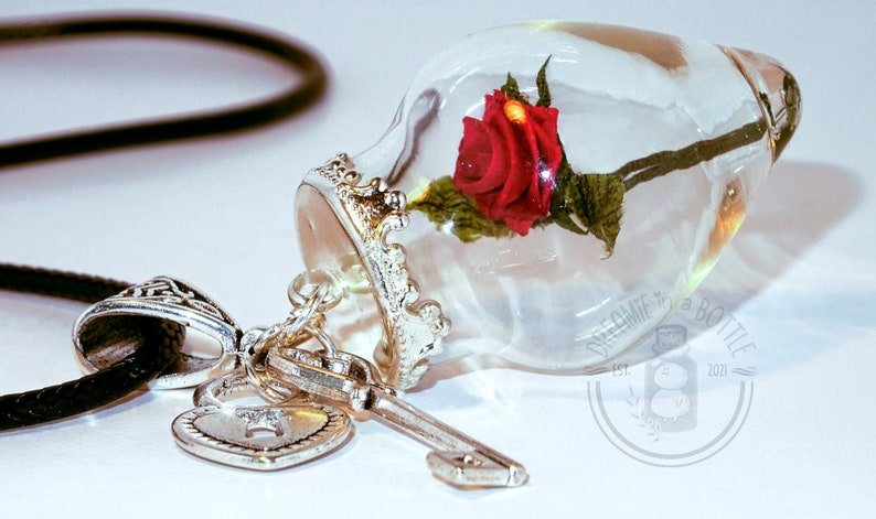 Miniature Paper Rose In A Bottle Pendant image 0