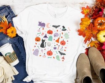 Cute Halloween Shirt, Pastel Halloween Doodles T-Shirt, Pastel Kawaii Halloween