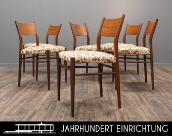 LÜBKE Set of 6 | 60s Mid Century Teak Dinner Chair | Floral Vintage Chairs | Century Furnishings