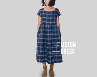 LISTON Smock Dress - digital pdf pattern - Women dress with pockets -  US Sizes 4 to 22 - EU Sizes 34 to 52 - Instant download