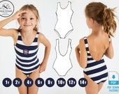 PATTERN Girl 39 s Swimsuit One Piece, Pattern Sewing, PDF, Pack Size 1y 2y 4y 6y 8y 10y 12y, Digital, Instant Download