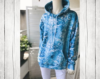 Hoodie | Vintage Baroque blue (all over print)
