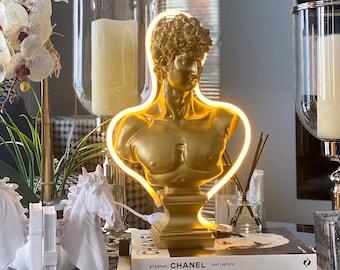 Pop Art Lamp Bust Statue Sculpture of David, Art Deco Lamp, Greek Art Statue Bust, Roman Art Home Decor, Ancient Greek Sculpture, Gift Bust