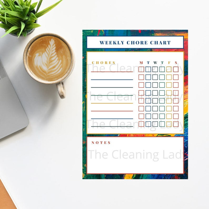 Printable Weekly Chore Schedule Daily Chore Chart  Cleaning image 0