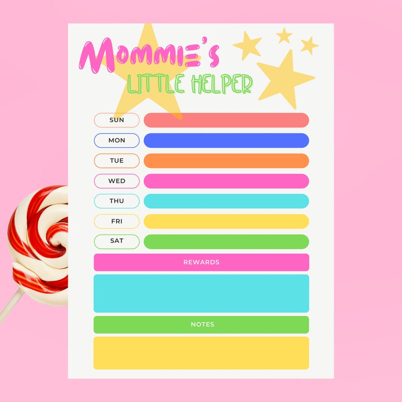 Kids Chore Chart  Printable Chore Chart  Reward Chart  Kids image 0
