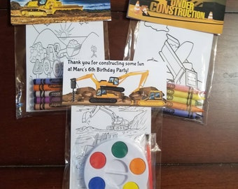 Kids Construction Coloring or Painting Card Set Favors, Kids Party Favors, Personalized Construction Coloring or Painting Party Favors