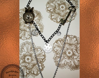 Steampunk Bling long necklace with Owl feature, gears and vintage key