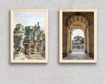 Set of 2 Dresden Germany Prints, German Photos Wall Art, Digital Travel Photography Download