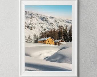 Winter Landscape Swiss Alps, Digital Download Mountain Photography, Digital Art Print Wall Art