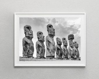 Easter Island Moai Sculptures Black White Photography, Rapa Nui Ancient Sculptures Digital Download Photo Poster, Digital Print Wall Art