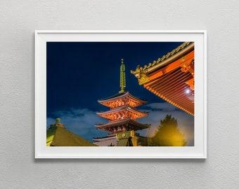 Asakusa Tokyo Japan, Pagoda at Sensoji Temple photo, digital download, digital print wall art
