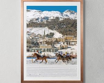St Moritz Switzerland White Turf Digital Download | Horse Race Photograph Digital Print Photo Wallart