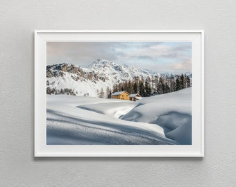 Winter Landscape Digital Download | Swiss Alps Mountain Photography | Digital Art Print Wall Art