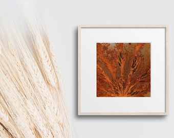 Rust art for the living room, small rust painting with imprint of leaves, rust wall decoration, country style, vintage, decoration rustic, natural tones