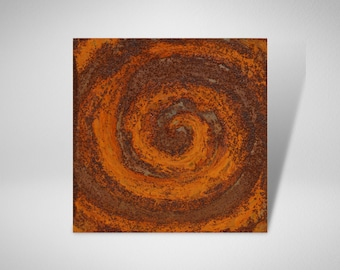Mini picture metal with rust spiral, miniature square, mini picture, small picture set, mini pictures steel, 15x15, for small spaces