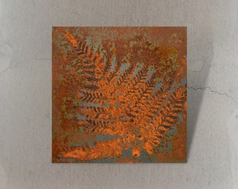 Metal painting with rust 15 x 15 cm, fern leaf imprint, for individual picture wall or wall collage, small pictures for wall decoration, natural motif