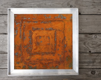 Small square picture with real rust, rust red, metal image, wall decoration small pictures, rustic, vintage, nature, rust art picture