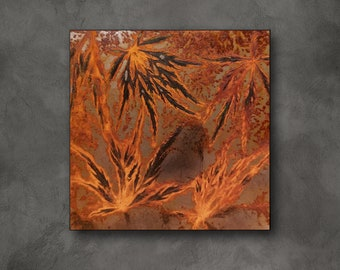 Small picture with plant motif made of real rust, wall decoration nature, murals plants, picture wall natural motifs, rust red, orange, metal picture