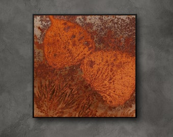 Rust artwork | Real rust with leaves imprint, rust painting | Decoration Natural Materials, Nature, Vintage, Boho, Retro, Small Picture Photo Wall