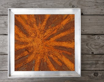 Wall decoration made of metal with rust, small picture for small rooms or as part of a picture wall wall decoration, vintage wall decoration, metal paintings,