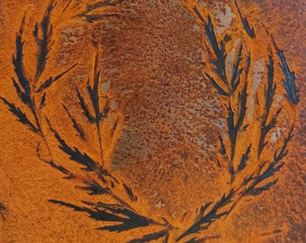 Wall decoration rust, small metal painting with real rust and leaf motif in the rust layer, wall decoration rustic, nature, vintage, picture collage