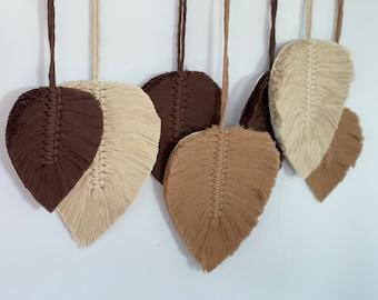 Macrame Leaves Wall Hanging, Macrame Feathers, Bohemian nursery decor,brown beige, boho decor, macrame leaf,medium,large,wooden