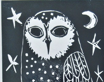 Linocut Print Owl Under the Moon and Stars on Paper