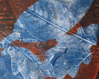 Leaves Monotype Print with White Mount