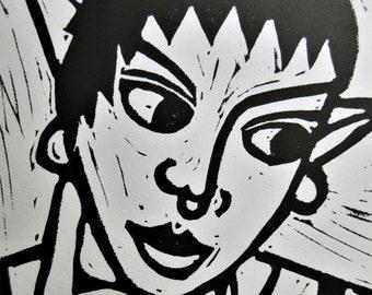 Linocut Print on Paper of Goblin Mooseham Portrait