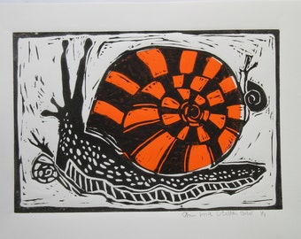 Linocut Print Big And Little Snails with Halloween Orange Collage Papers