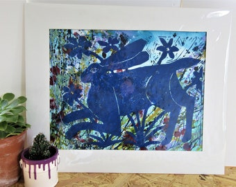Linocut Print Blue Hare in the Flowers on a Watercolour Painting