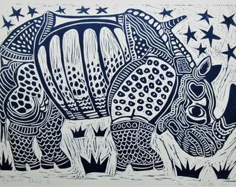 Linocut Print Fantastic Rhino