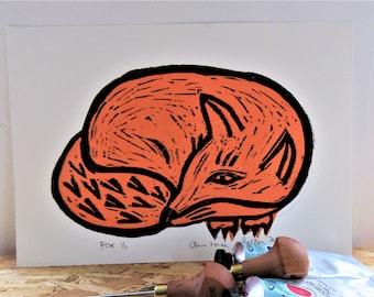 Linocut Print Orange Tissue Fox Resting No 6