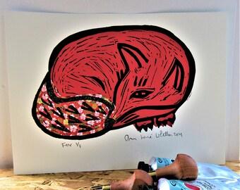 Linocut Print Red Resting Fox No 1