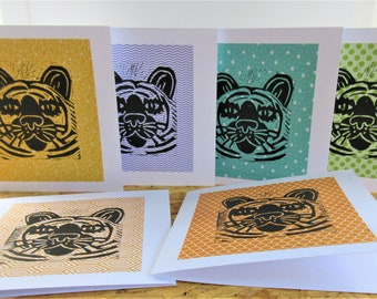 Six Tiger Linocut Print Greeting Cards