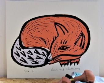 Linocut Print Orange Fox Resting No 4