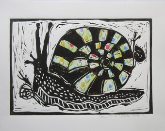 Linocut Print Big And Little Snails with Flowers Collage Papers