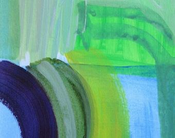 Framed Original Abstract Acrylic Painting Purple Rainbow