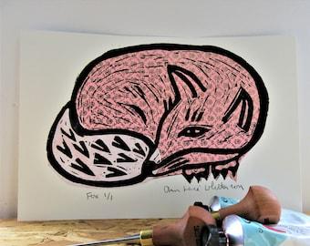 Linocut Print Pink Shiny Fox Resting No 3
