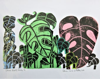 Linocut Print Cheese Plant Leaves Printed on Collage Papers